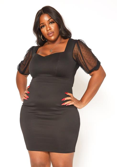 Asoph Plus Size Sweetheart Neck Bodycon Mini Dress