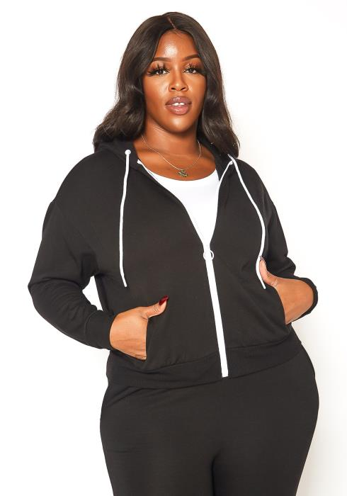 Asoph Plus Size Basic Zip Front Hooded Sweater