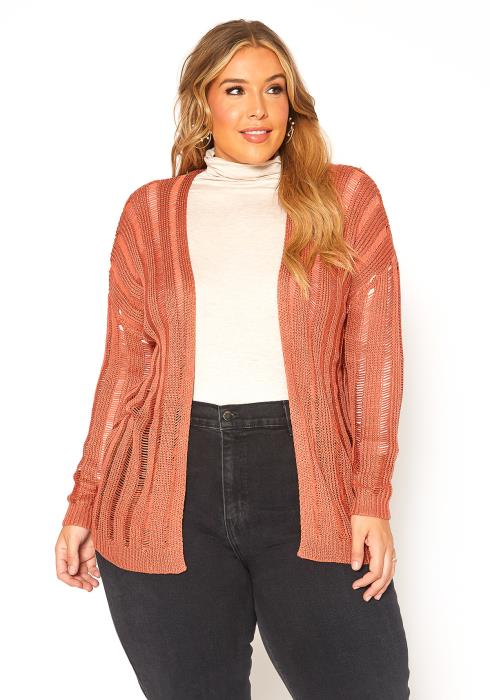 Asoph Plus Size Distressed Open Front Cardigan