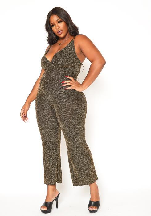 Asoph Plus Size Gold Shimmer Party Jumpsuit