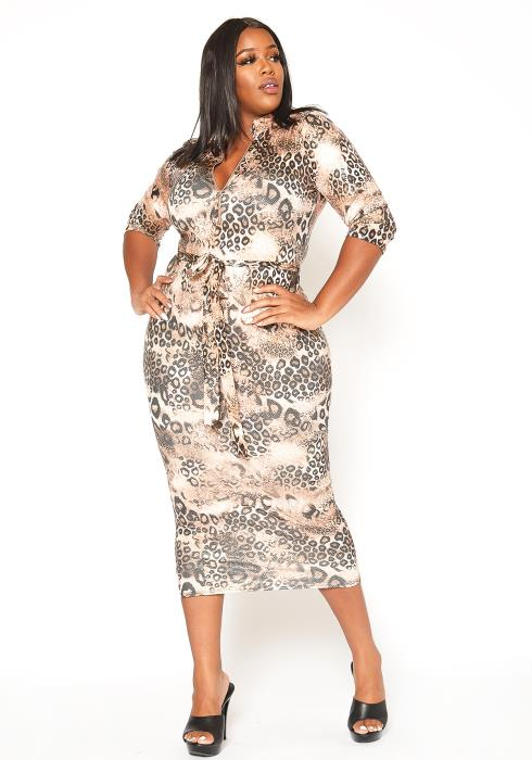 Asoph Plus Size Glossy Leopard Print Bodycon Midi Dress