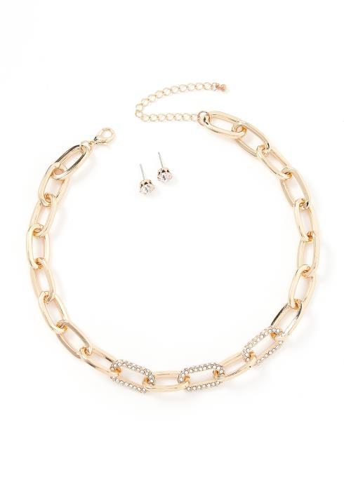 Abel Chain Link Choker Necklace & Stud Earring Set