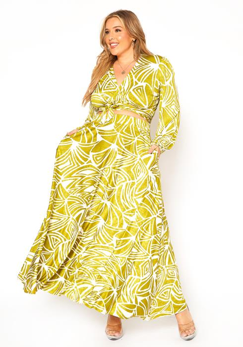 Asoph Plus Size Getaway Print Cropped Wrap Blouse & Maxi Skirt Set
