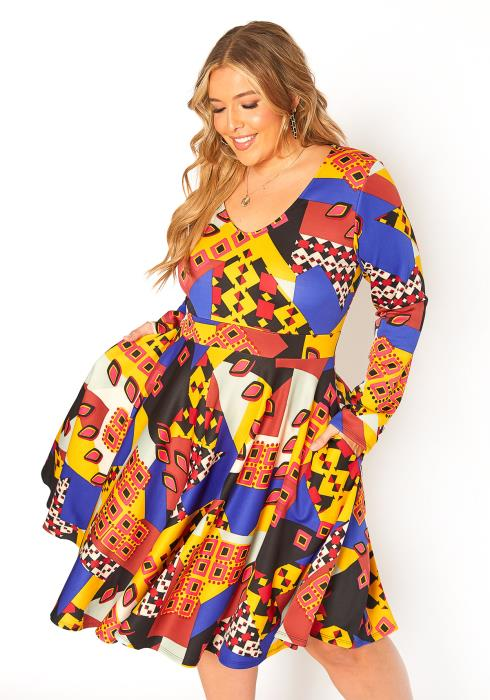 Asoph Plus Size Multi Block Print Fit Flare Dress