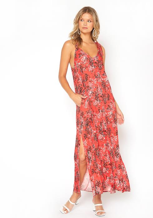 BTFL-life Red Floral Print Tank Maxi Dress