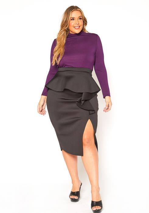 Asoph Plus Size Ruffle Effect Pencil Skirt