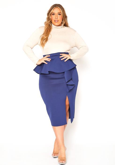 Asoph Plus Size Ruffle Effect Fancy Pencil Skirt