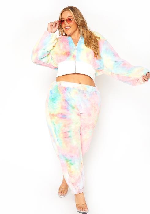 Asoph Plus Size Fuzzy Tie Dye Hooded Sweater & Pants Set