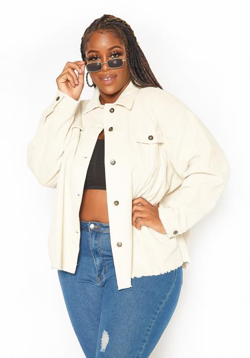 Asoph Plus Size Ivory Corduroy Oversized Jacket