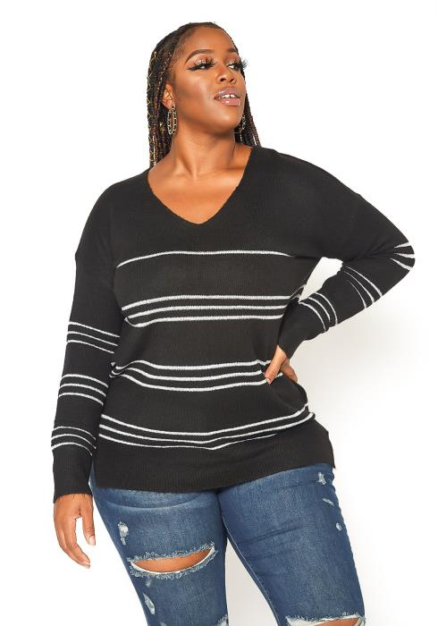 Asoph Plus Size Striped Knit Sweater