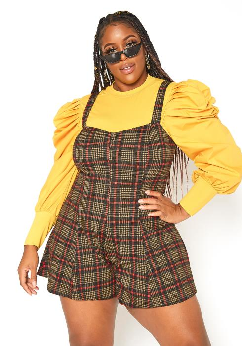 Asoph Plus Size Chic Me Out Plaid Cami Romper
