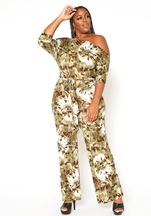 Asoph Plus Size Cold Shoulder Multi Print Jumpsuit