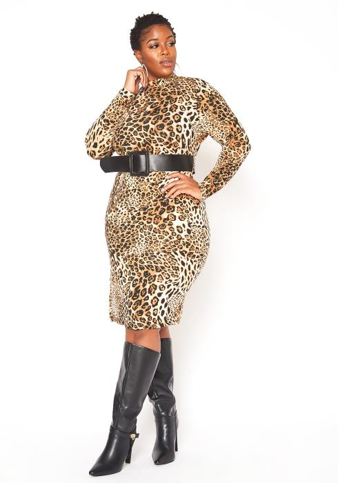 Asoph Plus Size Leopard Print Mock Neck Bodycon Dress
