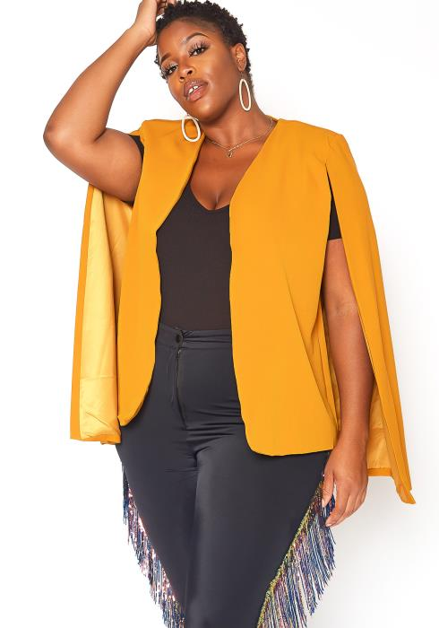 Asoph Plus Size All Business Open Front Cape Blazer