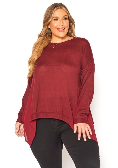 Asoph Plus Size Casual Chiffon Sweater Top