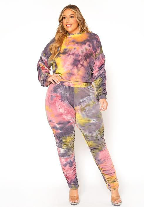 Asoph Plus Size Tie Dye All Over Ruched Set