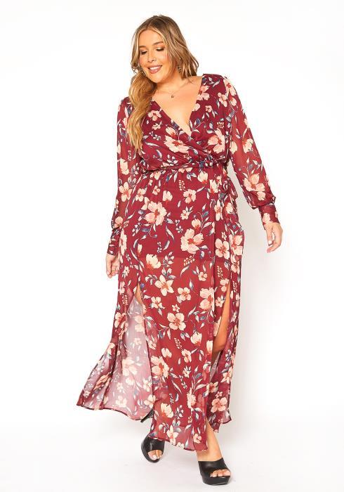 Asoph Plus Size Floral Print Chiffon Maxi Dress