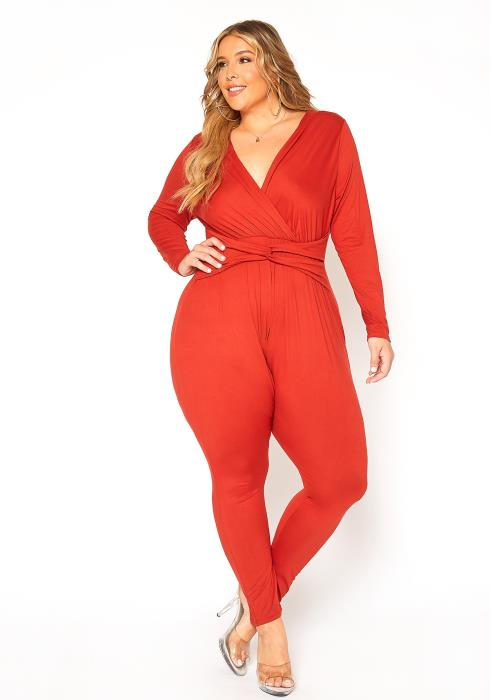Asoph Plus Size Fitted Twisted Waist Jumpsuit