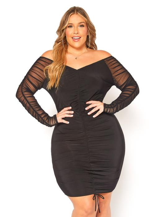 Asoph Plus Size Mesh Sleeve Ruched Bodycon Dress