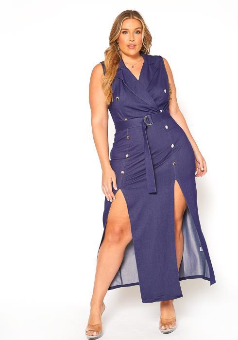 Asoph Plus Size Double Slit Denim Maxi Dress