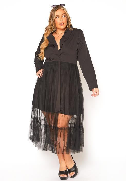 Asoph Plus Size Business Trip Chiffon Overlay Maxi Dress