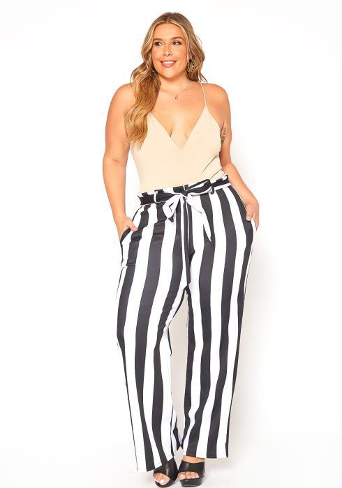 Asoph Plus Size Striped Paperbag Waist Pants