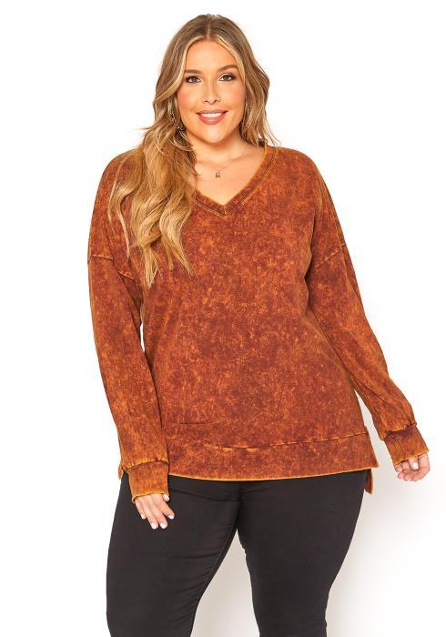 Asoph Plus Size Overdye V Neck Sweater