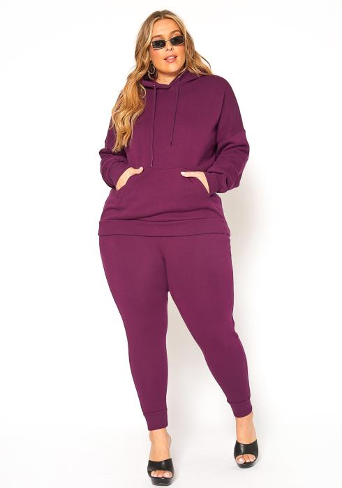 Asoph Plus Size Chill Mode Hooded Sweater & Pants Set