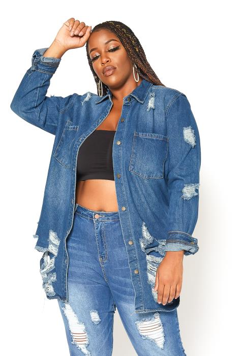 Asoph Plus Size Distressed Hem Oversized Denim Jacket