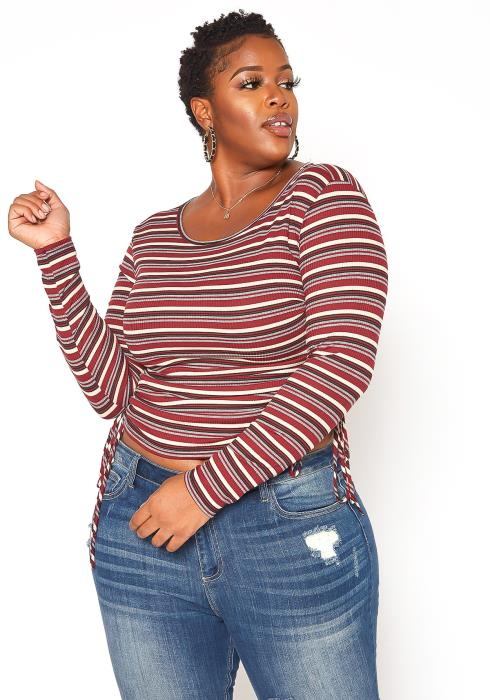 Asoph Plus Size Ruched Drawstring Hem Striped Top