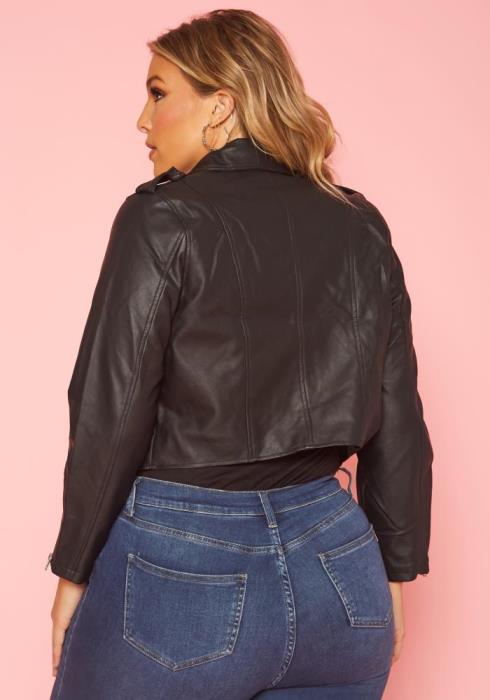 Asoph Plus Size Chic Zip Up Moto Jacket