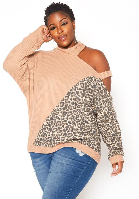 Asoph Plus Size Leopard Splice Cold Shoulder Knit Sweater