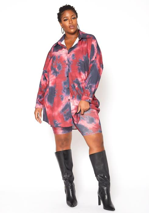 Asoph Plus Size Oversized Tie Dye Collar Shirt