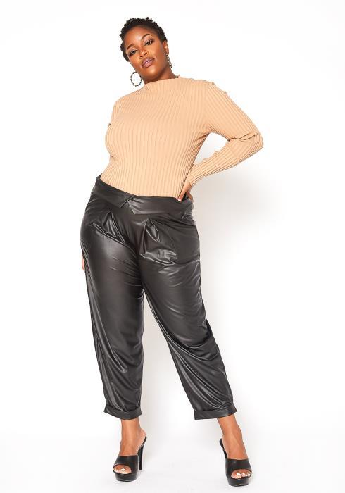 Asoph Plus Size Fold Waist Light Leather Pants