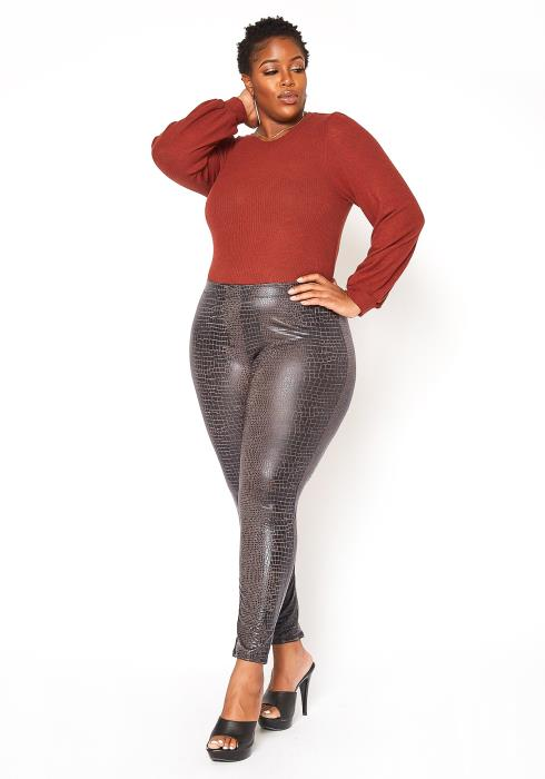 Asoph Plus Size Croc Print Faux Leather Leggings
