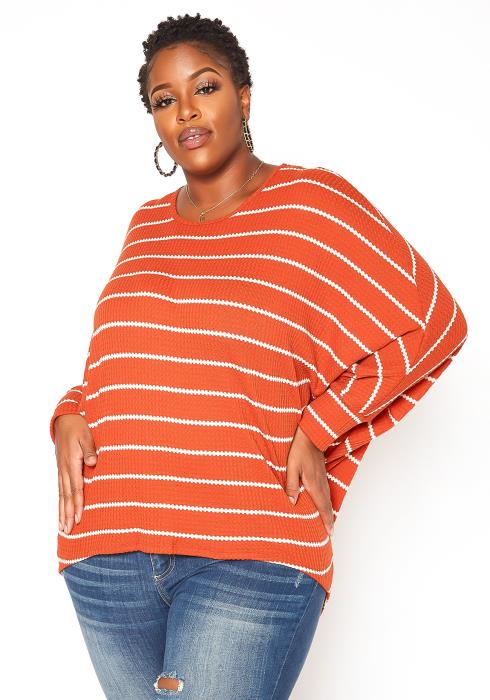 Asoph Plus Size Ribbed Knit Striped Sweater