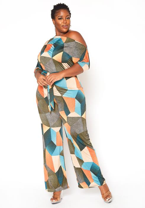 Asoph Plus Size Geometric Print Cold Shoulder Jumpsuit