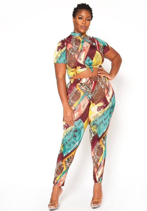 Asoph Plus Size Looks Can Kill Crop Top & Leggings Set