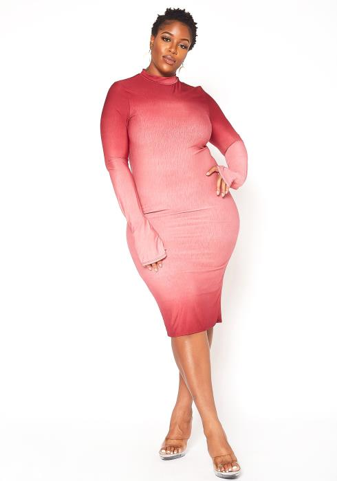 Asoph Plus Size Gradient Pink Bodycon Midi Dress