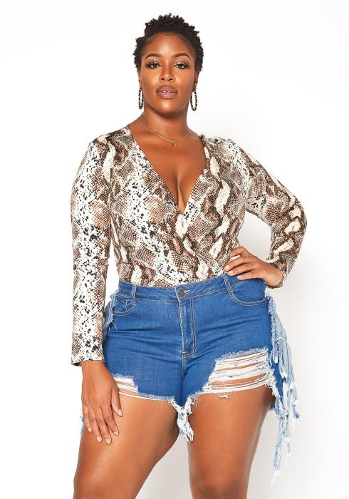 Asoph Plus Size Distressed Fringe Trim Denim Shorts
