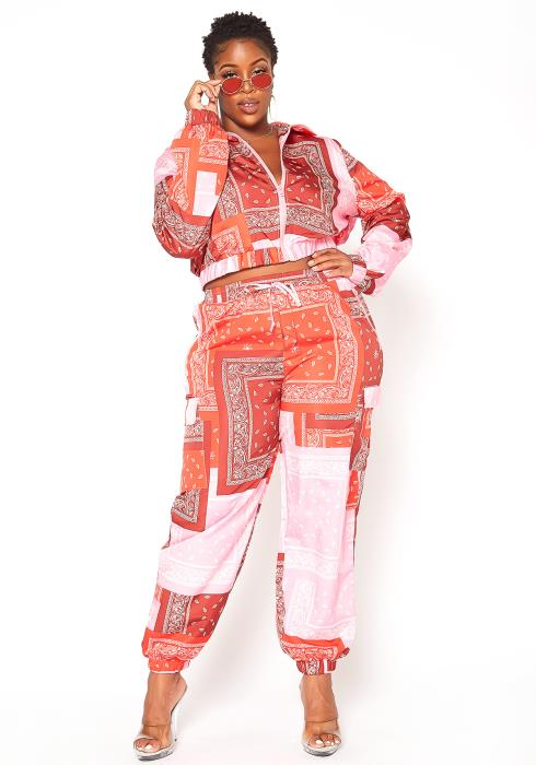 Asoph Plus Size Paisley Print Windbreaker Set