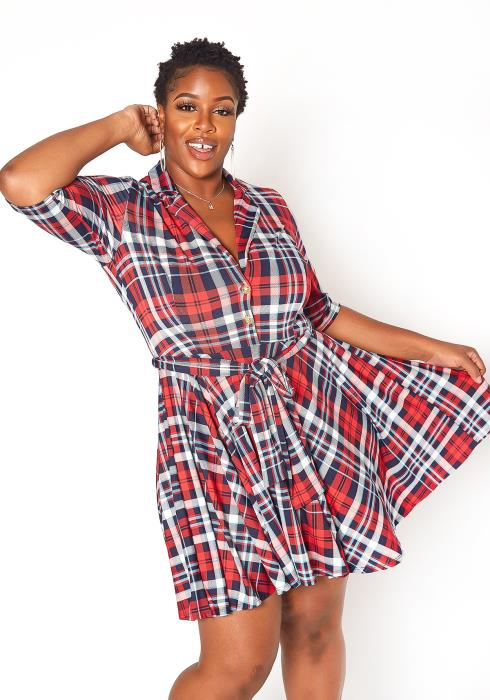Asoph Plus Size Plaid Fit & Flare Mini Dress
