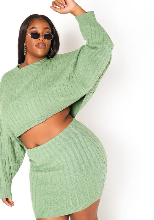 Asoph Plus Size Cozy Chic Cable Knit Sweater & Skirt Set