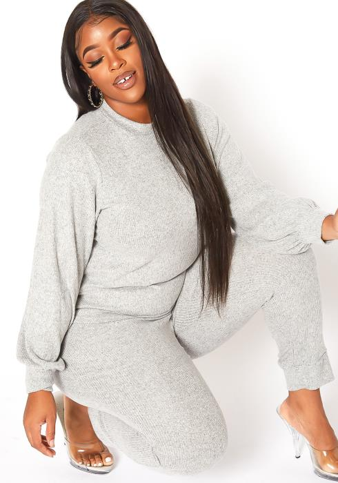 Asoph Plus Size On The Go Mock Neck Sweater & Fitted Pants Set