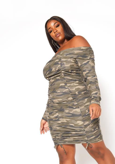 Asoph Plus Size Camo Print Off Shoulder Bodycon Dress
