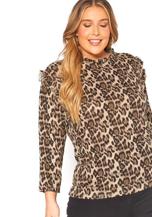 Asoph Plus Size Leopard Print Ruffle Knit Top