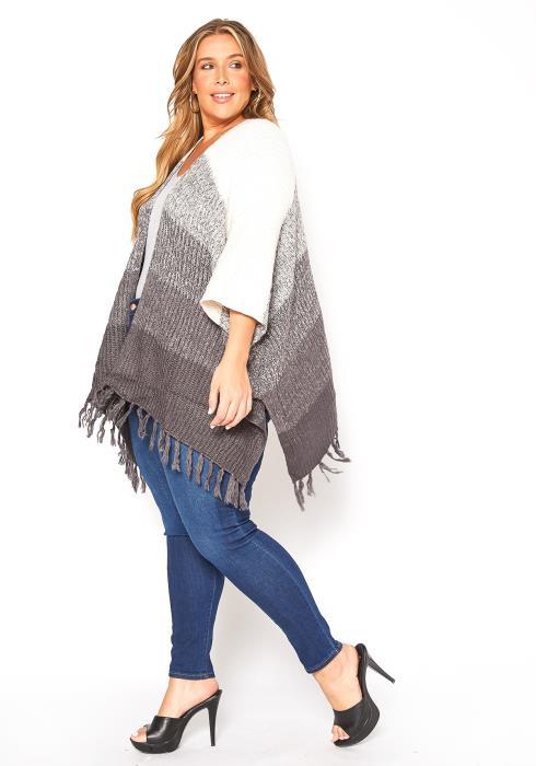 Asoph Plus Size Tassel Hem Poncho Cardigan