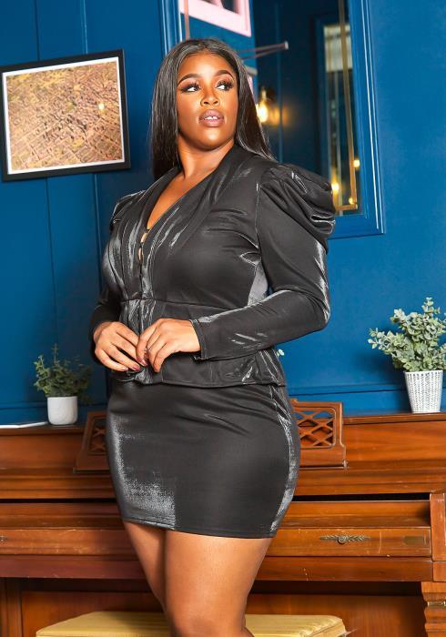 Asoph Plus Size Luxe Formal Glistening Mini Dress