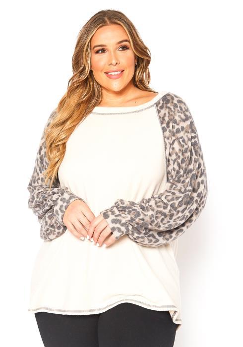 Asoph Plus Size Leopard Print Contrast Sleeve Sweater