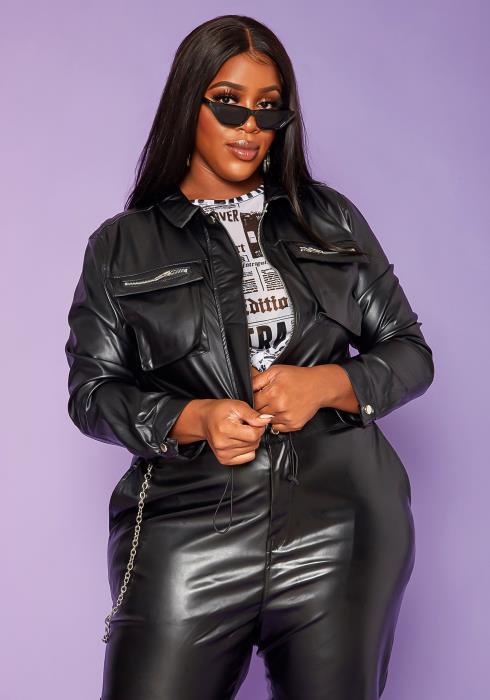 Plus Size Cropped PU Leather Jacket